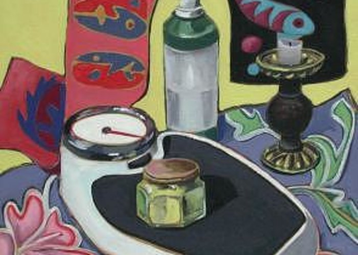 Still Life Greeting Card featuring the painting Scales by Rollin Kocsis