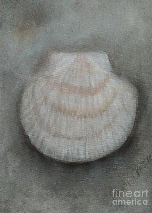 Greeting Card featuring the painting Scallop Shell by Loretta Kessler