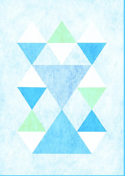 Scandi Greeting Card featuring the digital art Scandi Blue by Kris Sheather