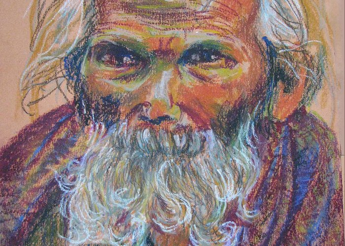 Old Man Greeting Card featuring the painting Scared Old Begger by Art Nomad Sandra Hansen