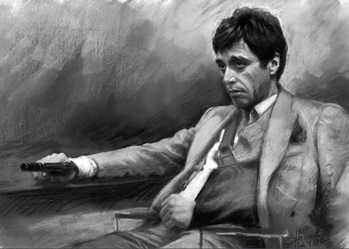 Al Pacino Greeting Card featuring the pastel Scarface 2 by Ylli Haruni