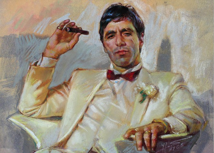 Scarface Greeting Card featuring the pastel Scarface by Ylli Haruni