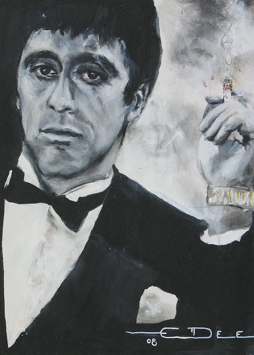 Al Pacino Greeting Card featuring the painting Scarface2 by Eric Dee