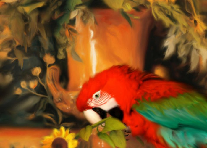 Bird Greeting Card featuring the digital art Scarlet Badboy by Stephen Lucas