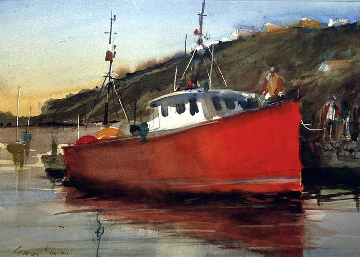 Boats. Greeting Card featuring the painting Scarlet Fisherman by Charles Rowland