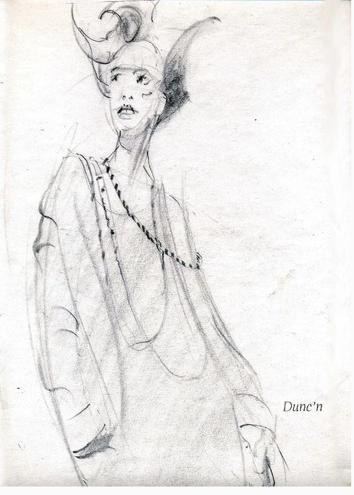 Lady With Scary Look Greeting Card featuring the drawing Scary by Bob Duncan