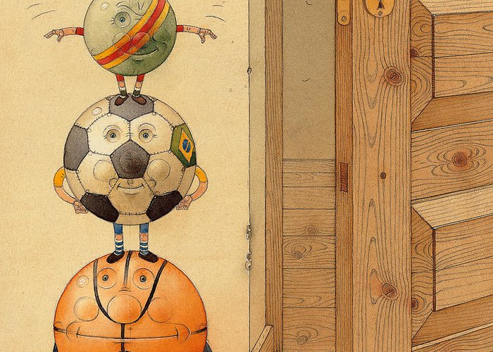 Ball Sport Room Door Fly Greeting Card featuring the painting Scary Story by Kestutis Kasparavicius