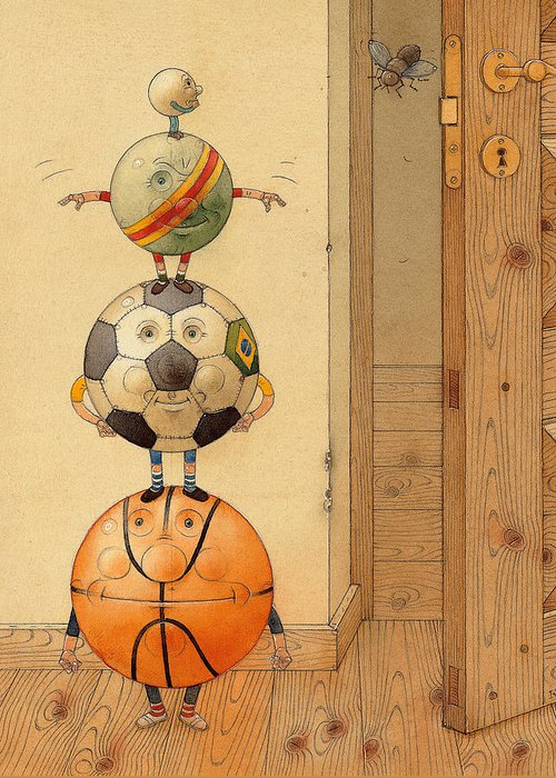 Ball Sport Room Door Fly Basketball Football Play Greeting Card featuring the painting Scary Story by Kestutis Kasparavicius