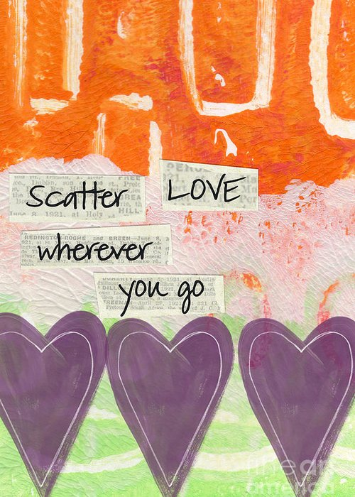 Abstract Greeting Card featuring the mixed media Scatter Love by Linda Woods