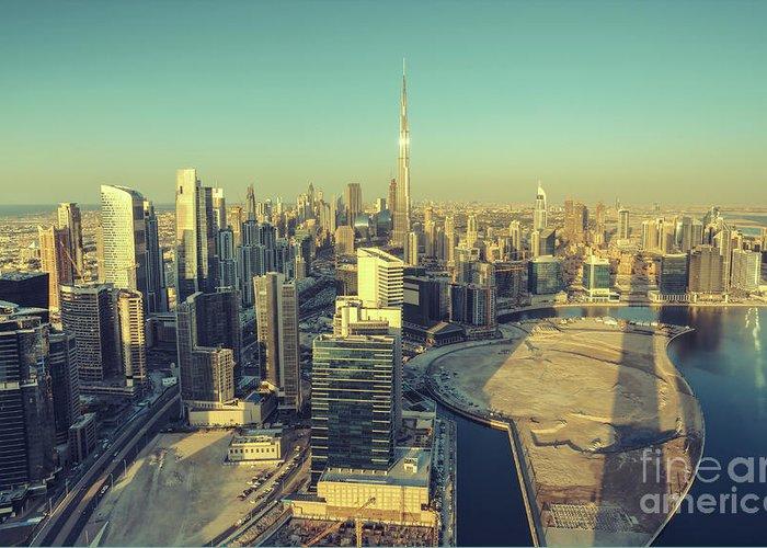Dubai Greeting Card featuring the photograph Scenic Aerial View Of Dubai by Dmitrii Telegin