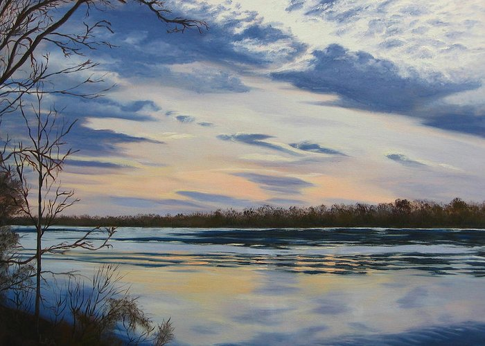 Clouds Greeting Card featuring the painting Scenic Overlook - Delaware River by Lea Novak