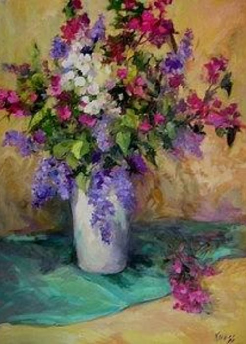 Floral Still Life Greeting Card featuring the painting Scent-sation by Patricia Kness