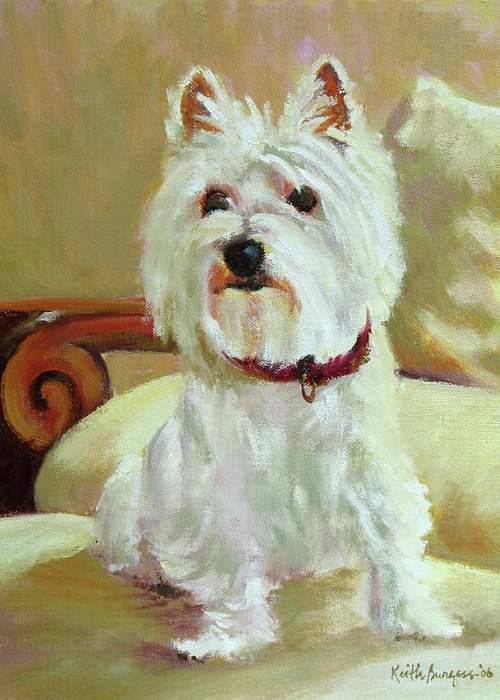 Pet Greeting Card featuring the painting Schatzie by Keith Burgess