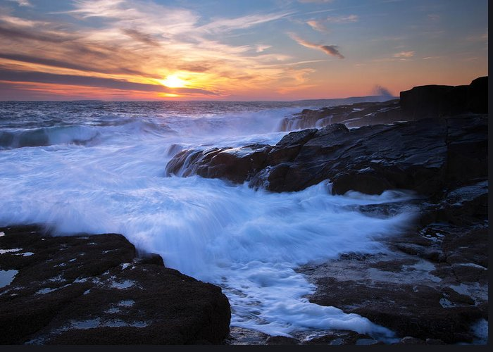 Maine Greeting Card featuring the photograph Schoodic Seas by Patrick Downey