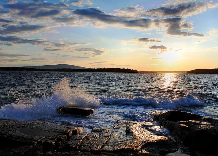Sunset Greeting Card featuring the photograph Schoodic Sunset by Scott Bricker