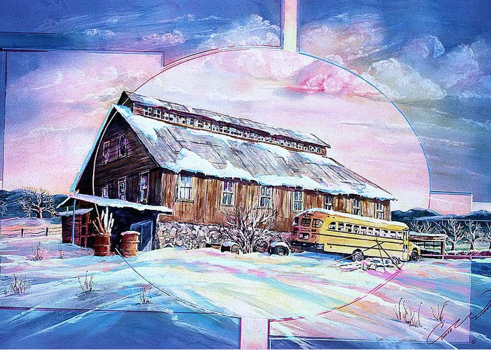 Bar Greeting Card featuring the painting School Bus And Barn by Connie Williams