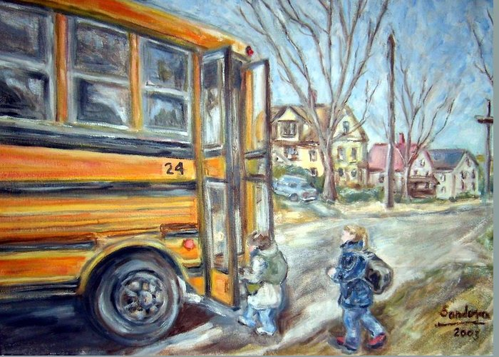 Landscape With Children Houses Street School Bus Greeting Card featuring the painting School Bus by Joseph Sandora Jr