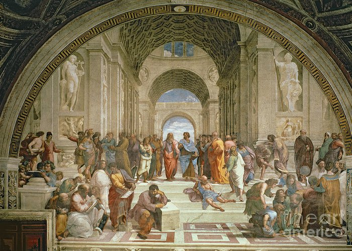 School Greeting Card featuring the painting School Of Athens From The Stanza Della Segnatura by Raphael