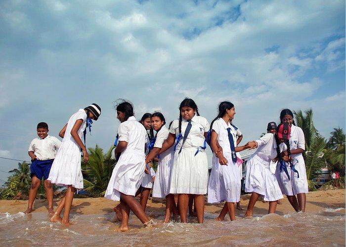 Sri Lanka Greeting Card featuring the photograph School Trip To Beach II by Rafa Rivas