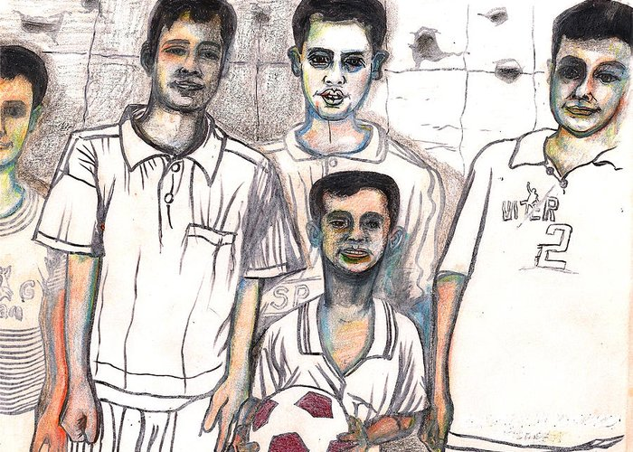 Soccer Greeting Card featuring the drawing Schoolyard Chums by Al Goldfarb