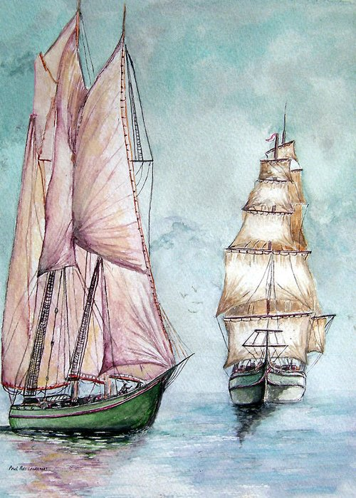Ship Greeting Card featuring the painting Schooner And Ship Of The Line by Paul Sandilands