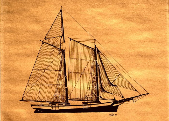 Tall Ship Greeting Card featuring the photograph Schooner Forgiven by Doug Mills