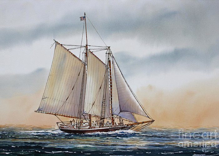 Fathers Day Sailing Vessel Framed Print Greeting Card featuring the painting Schooner Stephen Taber by James Williamson