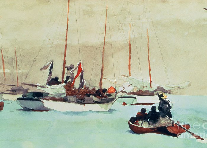 Boat Greeting Card featuring the painting Schooners At Anchor In Key West by Winslow Homer