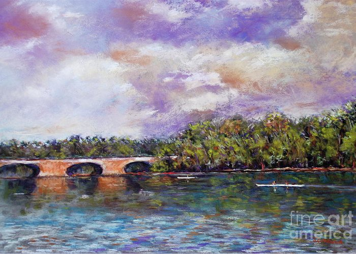 Landscape Greeting Card featuring the painting Schuylkill River Rowers by Joyce A Guariglia