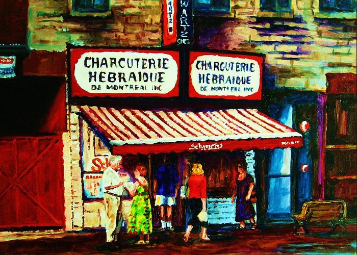 Schwartz Deli Greeting Card featuring the painting Schwartzs Famous Smoked Meat by Carole Spandau