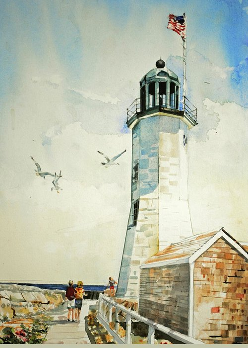 Scituate Light Greeting Card featuring the painting Scituate Light by P Anthony Visco