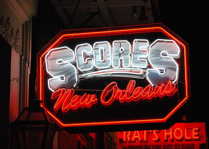 Scores Greeting Card featuring the photograph Scores Neon by Armand Hebert