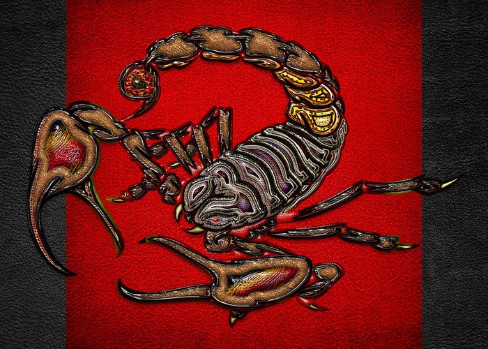 Beasts Of The Wild By Serge Averbukh Greeting Card featuring the photograph Scorpion On Red And Black by Serge Averbukh