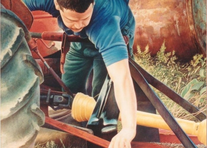 Tractor Greeting Card featuring the painting Scott by Hans Droog