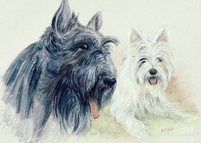 Scottie Greeting Card featuring the painting Scottie And Westie by Morgan Fitzsimons
