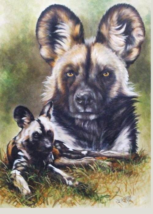 Wild Dogs Greeting Card featuring the mixed media Scoundrel by Barbara Keith