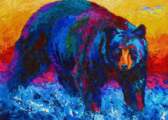 Western Greeting Card featuring the painting Scouting For Fish - Black Bear by Marion Rose