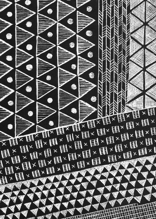 Black And White Greeting Card featuring the painting Scratchboard Kapa Pattern 1 by Cynthia Conklin