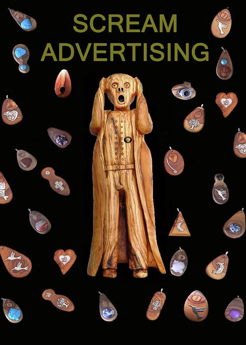 Scream Advertising Greeting Card featuring the mixed media Scream Advertising by Eric Kempson