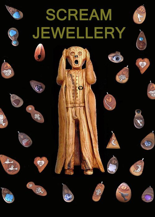 Scream Jewellery Greeting Card featuring the mixed media Scream Jewellery by Eric Kempson