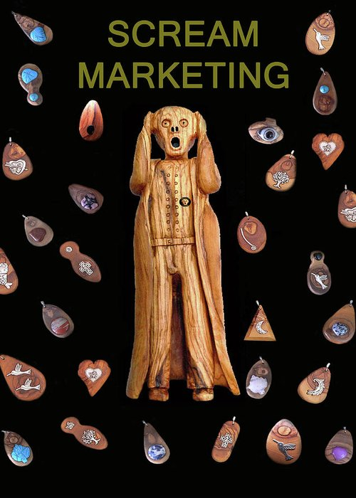 Scream Marketing Greeting Card featuring the mixed media Scream Marketing by Eric Kempson