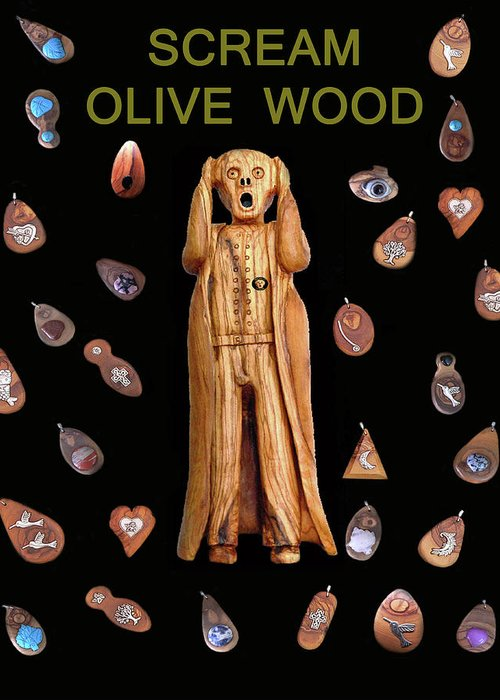 Scream Olive Wood Greeting Card featuring the mixed media Scream Olive Wood by Eric Kempson