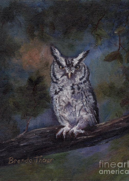 Owl Greeting Card featuring the painting Screech Owl by Brenda Thour