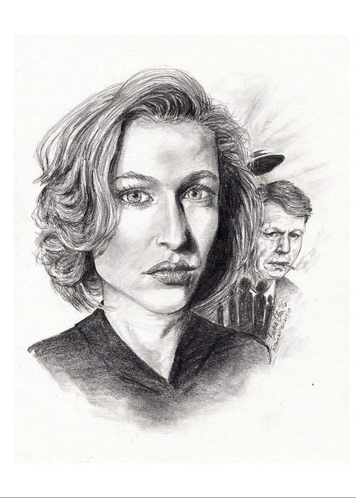 Scully Greeting Card featuring the drawing Scully by Emma Olsen
