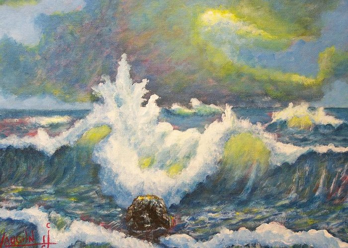 Sea Scape Ocean Waves Clouds Greeting Card featuring the painting Sculpting Tide by Charles Vaughn