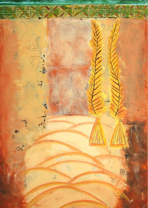 Abstract Greeting Card featuring the painting Scythian Gold 2 by Aliza Souleyeva-Alexander