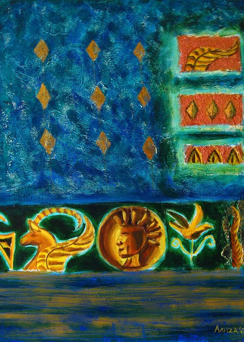 Abstract Greeting Card featuring the painting Scythian Gold by Aliza Souleyeva-Alexander