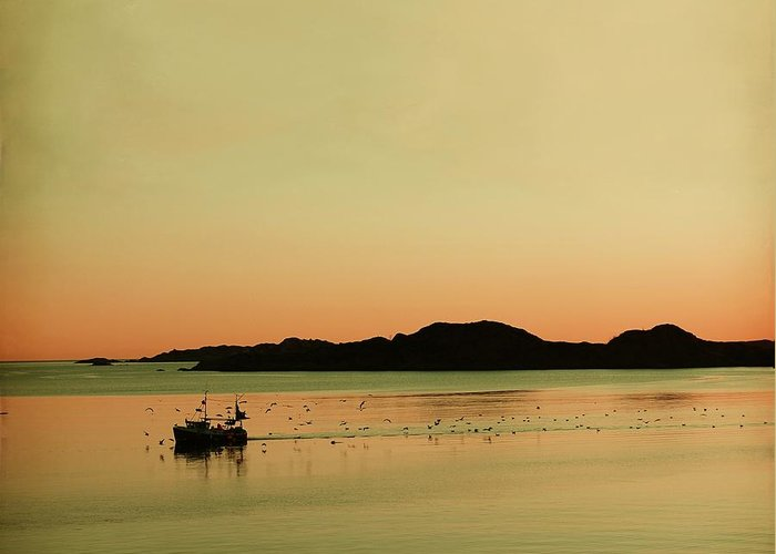 Dreamy Greeting Card featuring the photograph Sea After Sunset by Sonya Kanelstrand