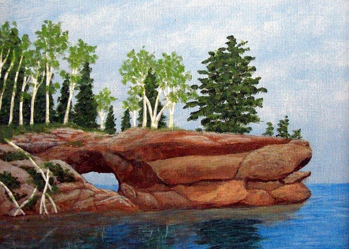 Landscape Paintings Greeting Card featuring the painting Sea Cave by Frederic Kohli
