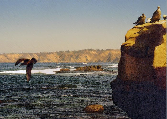 Ocean Greeting Card featuring the digital art Sea Cliff by Steve Karol